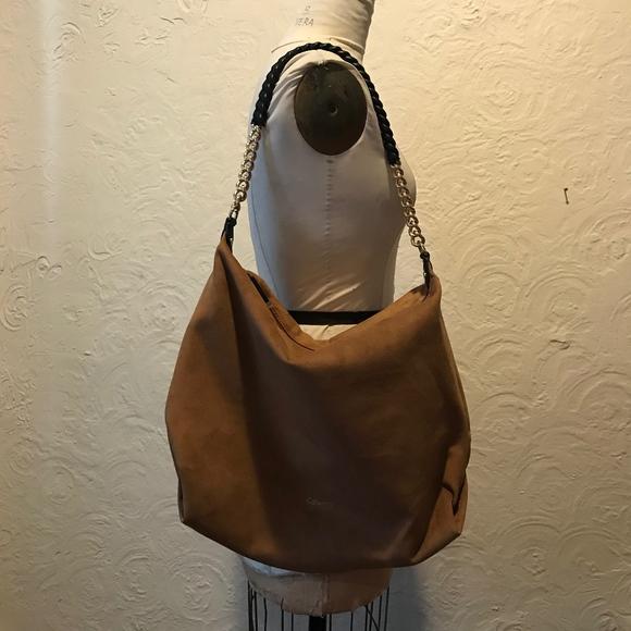 Calvin Klein Handbags - Calvin Klein Faux Suede Brown Slouchy Hobo with Ch